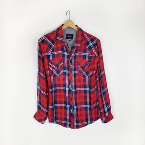 Rails fully lined plaid button up top womens M